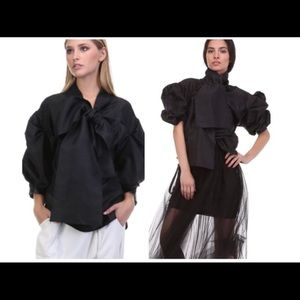 Tops - Evening Bow Bell Sleeve puffy Organza Blouse